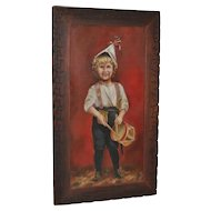 Antique American Folk Art Painting - Boy With Drum - Circa.1890
