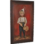Antique American Folk Art Painting - Boy With Drum - Circa.1890