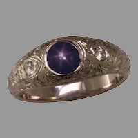 Hand Engraved Ring with Natural Blue Star Sapphire