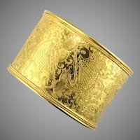 Pure 24K Gold Himalayan Engraved Cuff Bracelet