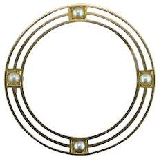 Arts & Crafts Natural Pearl 14K Circle Pin