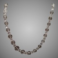 Art Deco Carved Rock Crystal Bead Necklace