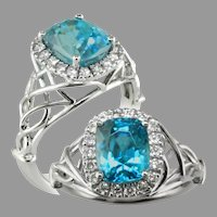 14K White Gold Blue Zircon and Diamond Ring