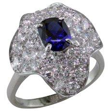 Sapphire & Diamond Platinum Pave Ballerina Ring