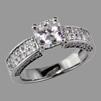 14K White Gold .78 ct. Radiant Cut Diamond Ring