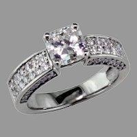 14K White Gold .78 ct. Radiant Cut Diamond Ring