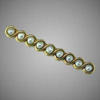 Art Nouveau Whiteside & Blank Natural Pearl 14 Karat Gold Bar Pin