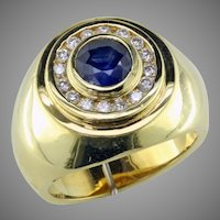 Sapphire & Diamond 18K Ring