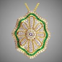 Emerald Diamond 18K Pendant-Brooch