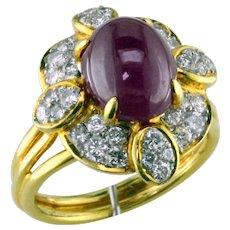 Ruby Cabochon & Diamond 18K Ring