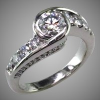 1 1/2 ct tw. Diamond and Platinum Engagement Ring