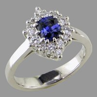 Benitoite Diamond 14K White Gold  Ring