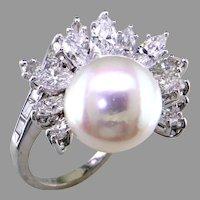 South Sea Pearl & Diamond Platinum Ring