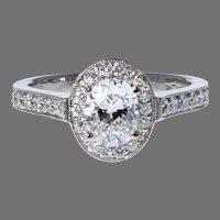 18K White Gold Oval Diamond Halo Ring