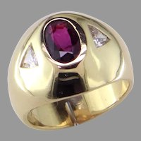 Classic Gypsy Style Ruby and Diamond Ring