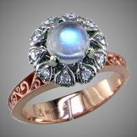 One of a Kind Moonstone Diamond 14K Rose White Gold Ring