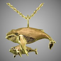 Humpback Whales 14K yellow gold pendant