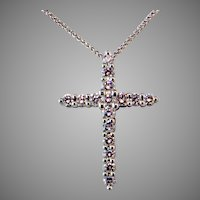 ~ 1 ct Diamond 14K White Gold Cross