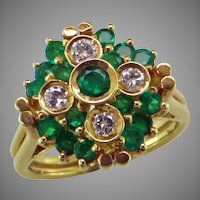 Emerald & Diamond 18K Gold Ring