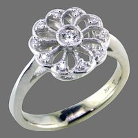 14K White Gold One of a Kind Diamond Ring