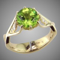 One-of-a-Kind Peridot & Diamond Ring