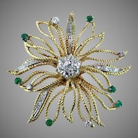 Starburst Diamond & Emerald 14K Yellow & White Gold Pendant