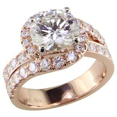 Magnificent 2.28 Diamond in Designer Rose Gold Ring, 3.39 cts tw
