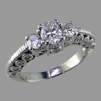 14K White Gold Oval Diamond 3 Stone Ring