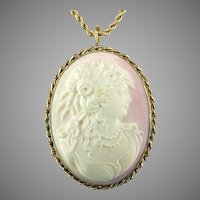 Extra Large Signed Victorian Pink Shell Cameo 14K Gold Pendant