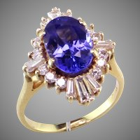 Fabulous Tanzanite & Diamond 18K Ballerina Ring