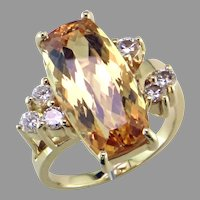 Imperial Topaz & Diamond 18K Ring