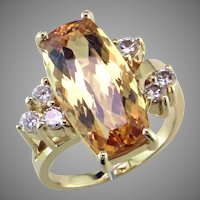Imperial Topaz & Diamond 18K Ring