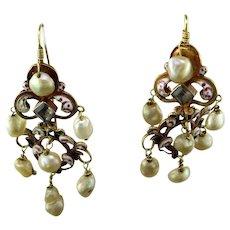 Antique Croatian 18K Gold Pearl Enameled Earrings