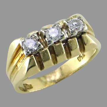 3 Diamond 18K Pinky Ring