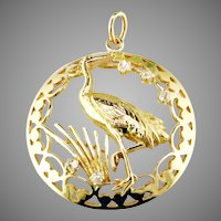 Whooping Crane Diamond 18K Gold Pend