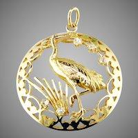 Whooping Crane Diamond 18K Gold Pend