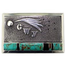 Cherokee Turquoise Sterling Silver Belt Buckle