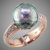Faceted Tahiti Pearl Diamond 14K Rose Gold Ring