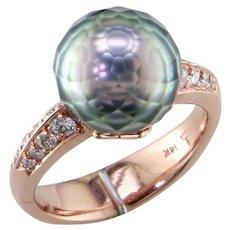 Faceted Tahiti Pearl Diamond 14K Rose Gold Ring