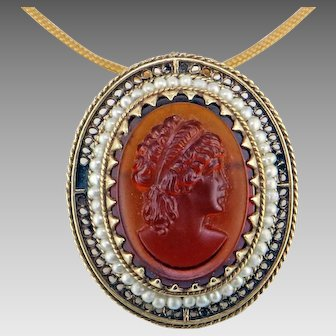 Art Deco Root Beer Glass Cameo Pendant/ Brooch