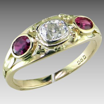 Old Mine Cut Diamond & Ruby Ring