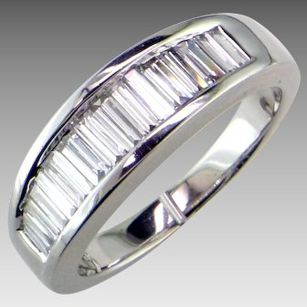 White Gold Diamond  Baguette Band
