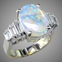 Opal & Baguette Diamond Ring