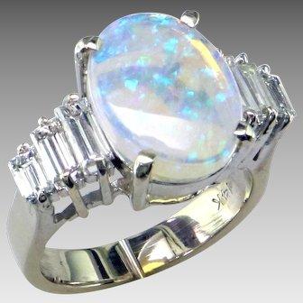 Opal & Baguette Diamond Ring