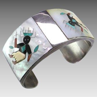 Apache Crown Dancer Stone Inlay Silver Cuff Bracelet by Tony Ohmsatte