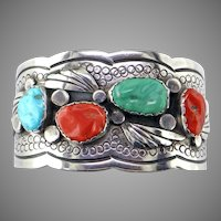 Turquoise & Coral Sterling Bracelet