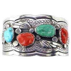 Turquoise & Coral Sterling Bracelet