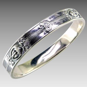 Art Nouveau Sterling Silver Bangle