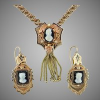 Mid-Victorian Agate Cameo Natural Pearl Taille de Epergne Enamel 10K Gold Necklace Earrings