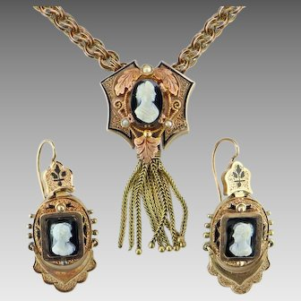 Victorian Hardstone Cameo Necklace and Earrings